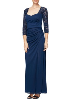 Alex Evenings Lace Yoke & Sleeves Ruched Gown (Regular & Petite)