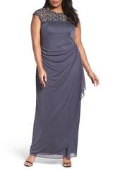 Alex Evenings Lace Yoke Empire Mesh Gown (Plus Size)