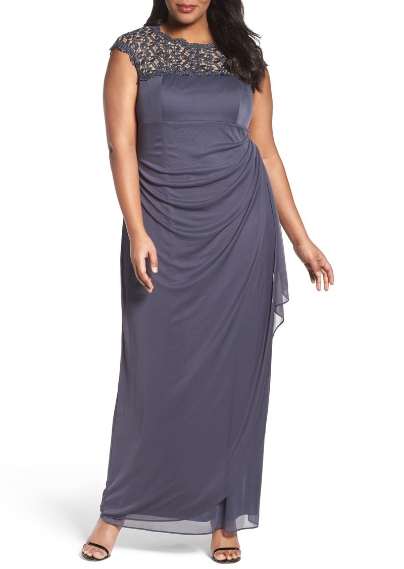 Alex Evenings Lace Yoke Empire Mesh Gown (Plus Size)