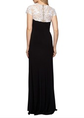 Alex Evenings Lace Yoke Jersey Gown