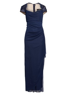 Alex Evenings Lace Yoke Ruched Gown (Regular & Petite)