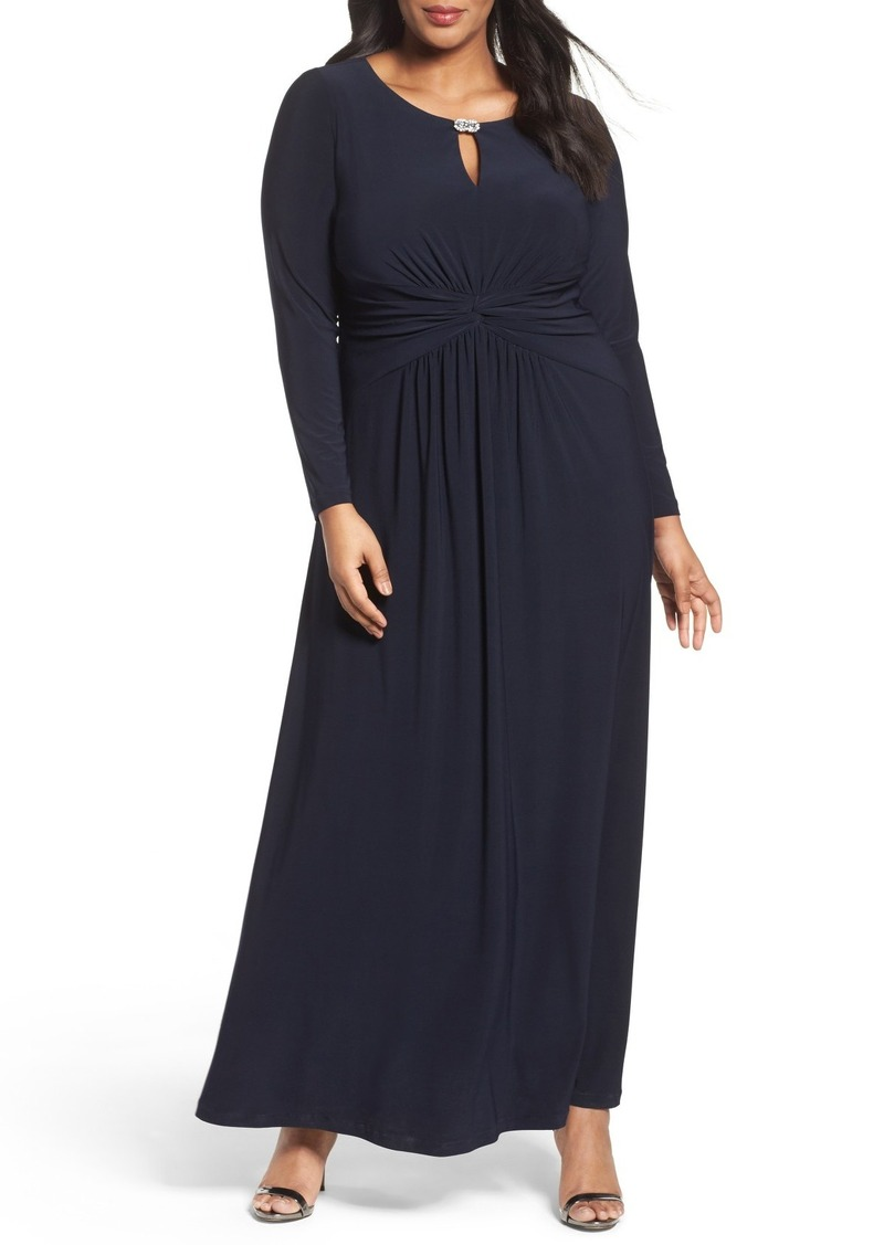 Alex Evenings Long A-Line Dress with Ruched Waist (Plus Size)
