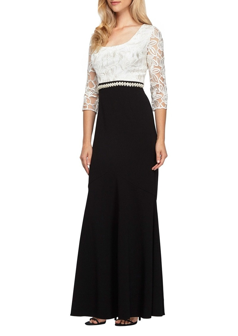 Alex Evenings Long Embellished Waist Colorblock Dress (Regular & Petite)
