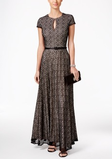 Alex Evenings Mesh Belted A-Line Gown