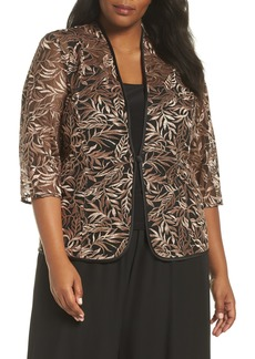 Alex Evenings Metallic Embroidered Twinset (Plus Size)