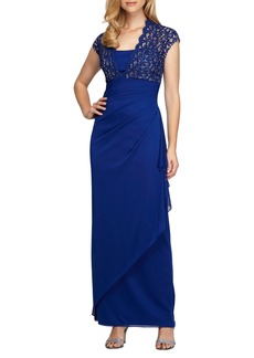 Alex Evenings Metallic Lace & Chiffon Gown (Regular & Petite)