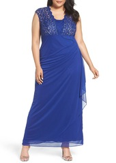 Alex Evenings Metallic Lace & Chiffon Gown (Plus Size)