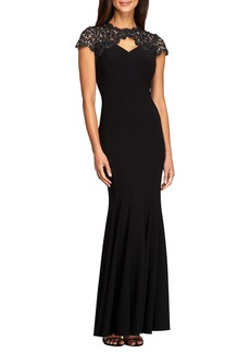 Alex Evenings Metallic Lace & Jersey Gown