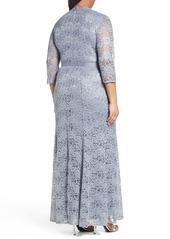 Alex Evenings Metallic Lace Fit & Flare Gown (Plus Size)