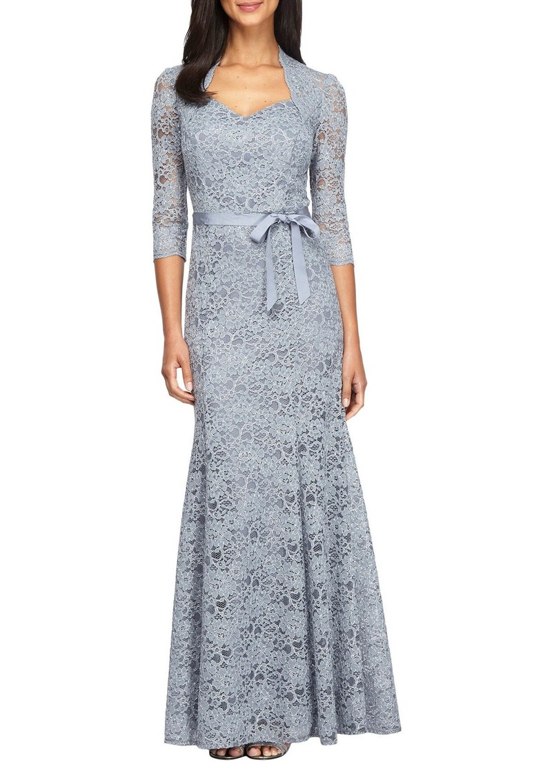 Alex Evenings Metallic Lace Fit & Flare Gown (Regular & Petite)