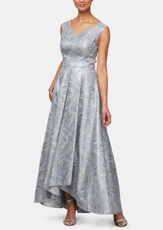 Alex Evenings Metallic-Printed High-Low Gown