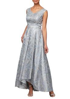 Alex Evenings Metallic Swirl High/Low Evening Dress