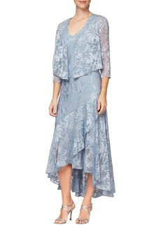 Alex Evenings Metallic Textured Floral Burnout High/Low Dress with Jacket