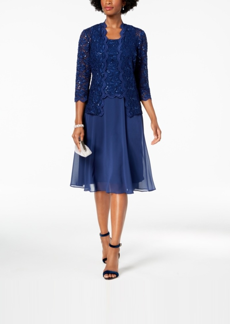 Alex Evenings Midi Dress & Sequined Lace Jacket, Regular & Petite
