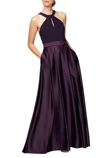 Alex Evenings Mixed Media Halter Gown