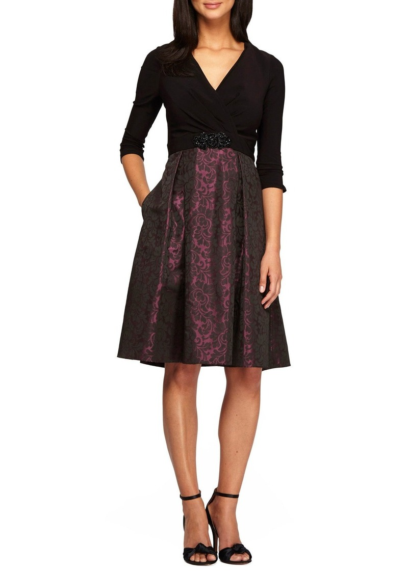 Alex Evenings Mixed Media Fit & Flare Dress