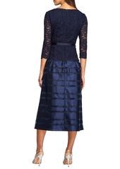 Alex Evenings Mixed Media Fit & Flare Dress (Regular & Petite)