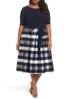Alex Evenings Mixed Media Fit & Flare Dress (Plus Size)