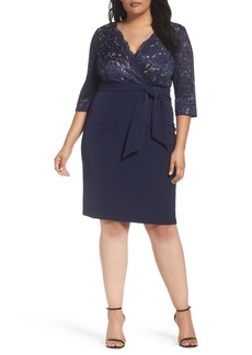 Alex Evenings Mixed Media Surplice Sheath Dress (Plus Size)