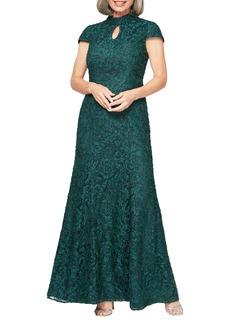 Alex Evenings Mock Neck Beaded Lace Trumpet Gown (Regular & Petite)