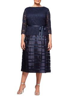 Alex Evenings Mock Two-Piece A-Line Midi Dress (Plus Size)