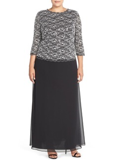 Alex Evenings Mock Two-Piece Lace & Chiffon A-Line Gown (Plus Size)