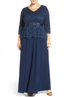 Alex Evenings Mock Two-Piece Lace & Jersey Gown (Plus Size)