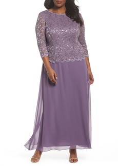 Alex Evenings Mock Two-Piece Long Dress (Plus Size)