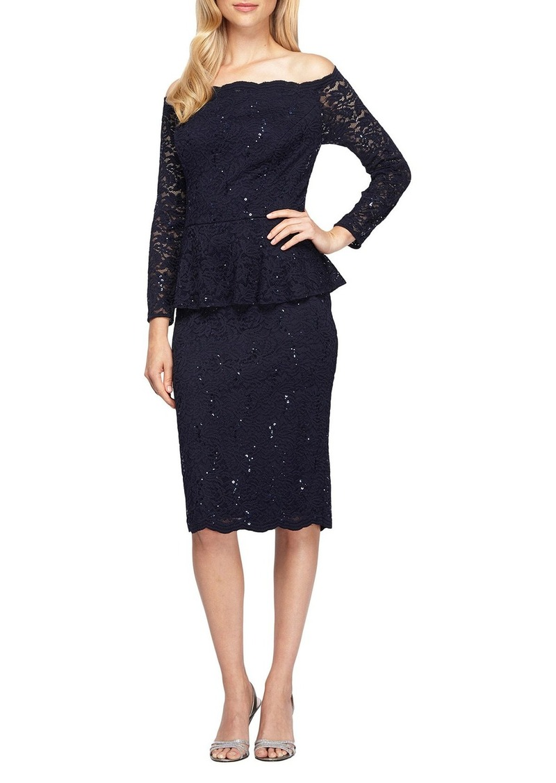 Alex Evenings Lace Peplum Dress (Regular & Petite)