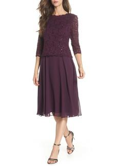 Alex Evenings Mock Two-Piece Tea Length Dress