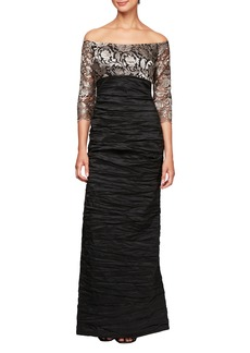Alex Evenings Off Shoulder Empire Waist Gown