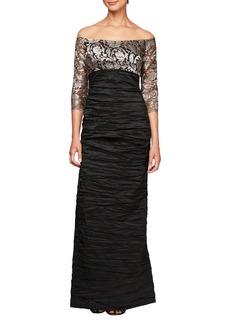 Alex Evenings Off Shoulder Empire Waist Gown