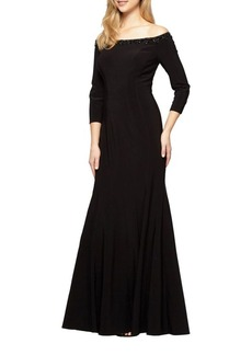 Alex Evenings Off-the-Shoulder Fit-&-Flare Gown
