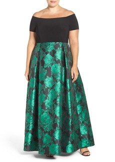 Alex Evenings Off the Shoulder A-Line Gown (Plus Size)