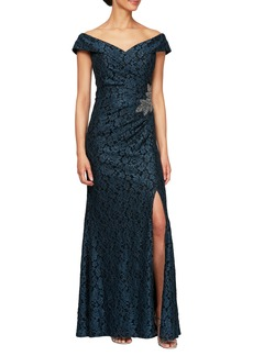 Alex Evenings Off the Shoulder Beaded Gown