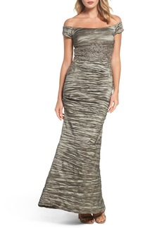 Alex Evenings Off the Shoulder Crinkle Satin Trumpet Gown
