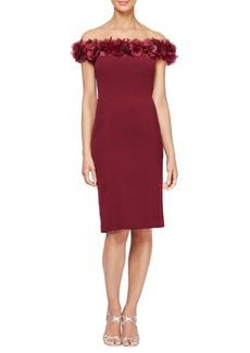 Alex Evenings Off-The-Shoulder Floral Detail Dress