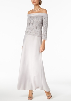 Alex Evenings Off-The-Shoulder Lace-Bodice Gown
