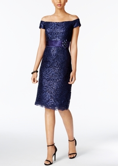 Alex Evenings Off-The-Shoulder Lace Sheath Dress