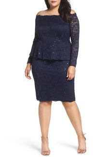 Alex Evenings Off the Shoulder Lace Sheath Dress (Plus Size)