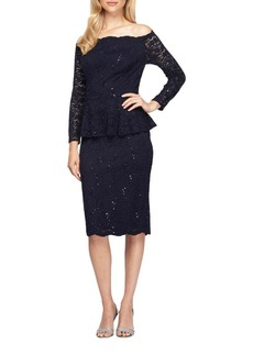 Alex Evenings Off-The-Shoulder Mock Peplum Lace Dress