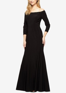 Alex Evenings Off-The-Shoulder Trumpet Gown