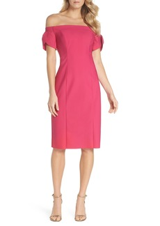 Alex Evenings Off the Shoulder Tulip Sleeve Cocktail Dress