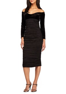 Alex Evenings Off the Shoulder Velvet & Taffeta Sheath Dress