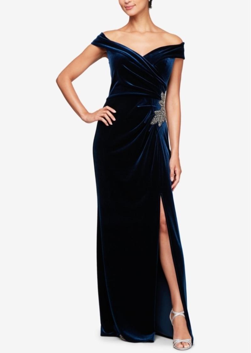 Alex Evenings Off-The-Shoulder Velvet Slit Gown