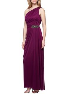 Alex Evenings One-Shoulder Woven Gown