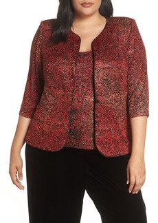 Alex Evenings Paisley Jacquard Jacket & Tank (Plus Size)
