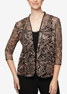 Alex Evenings Petite Embroidered Jacket & Top Set