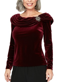 Alex Evenings Petite Ruched Velvet Top