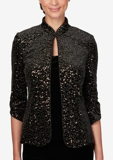 Alex Evenings Petite Sequined Jacket & Velvet Top Set